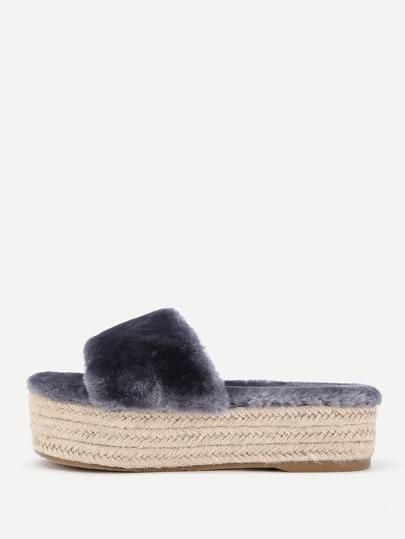 Faux Fur Woven Flatform Flats