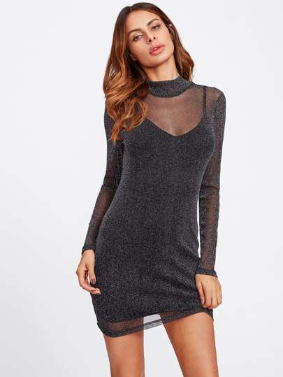Glitter Mesh Overlay 2 In 1 Dress