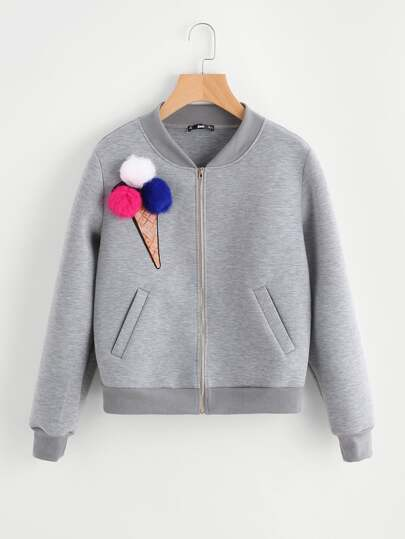Pom Pom Sequin Ice Cream Patch Heather Knit Jacket