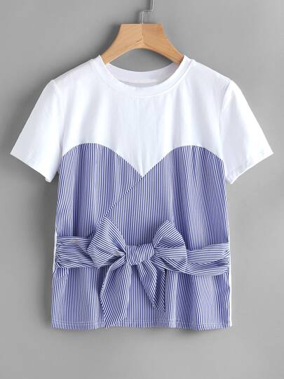 Contrast Striped Bow Tie Front 2 In 1 Tee