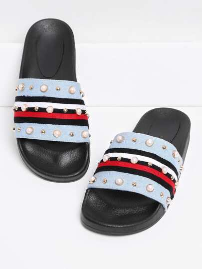 Faux Pearl & Studded Detail Slip On Sandals