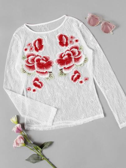 Embroidered Flower Patch Lace Top