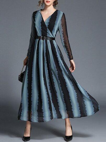 V Neck Color Block Maxi Dress