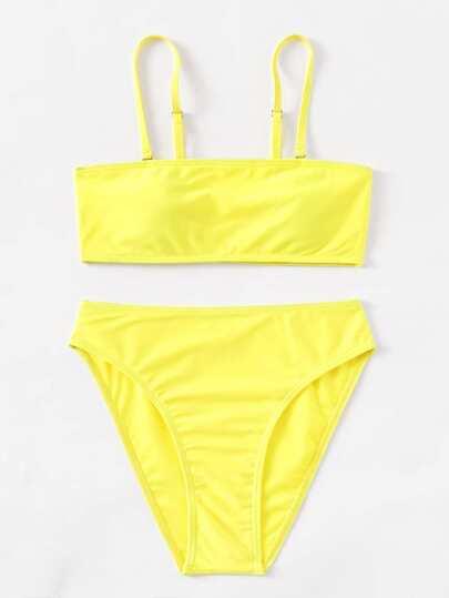 High Leg Bikini Set With Detachable Strap