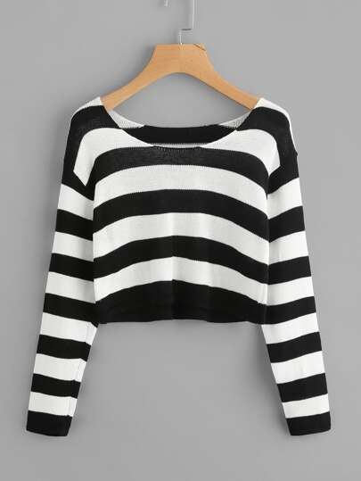 Contrast Stripe Crop Sweater