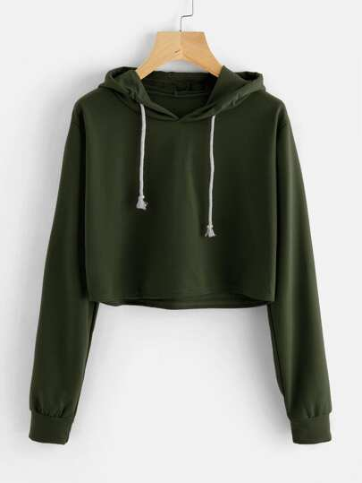 Hooded Drawstring Crop Sweatshirt