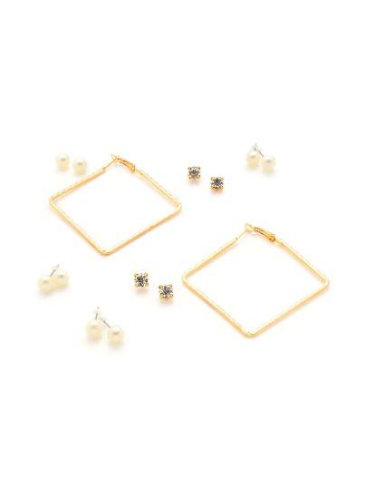 Ensemble de boucles d\'oreille design de perles fausses et strass