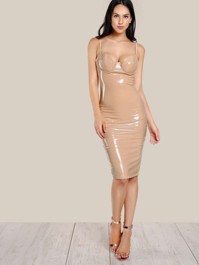 Latex Bodycon Bustier Dress NUDE