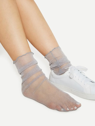 Two Pairs Glitter Seam Side Ankle Socks