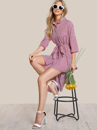 Hi Lo Striped Button Up Dress BURGUNDY