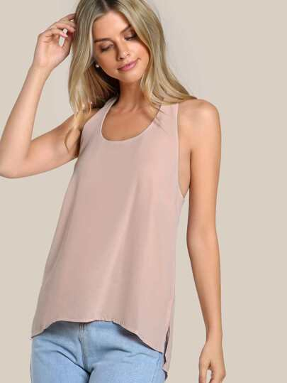 Hi Lo Sleeveless Top PINK