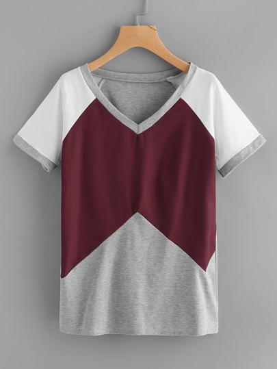 Tee-shirt contrasté manche raglan