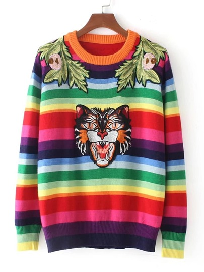 Animal Embroidery Rainbow Stripe Sweater