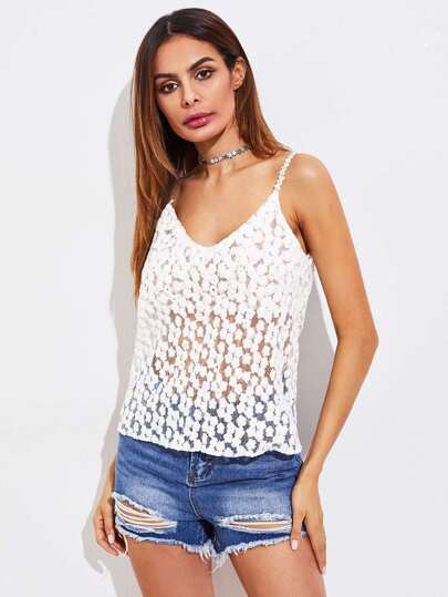 Ditsy Embroidered Mesh Cami Top