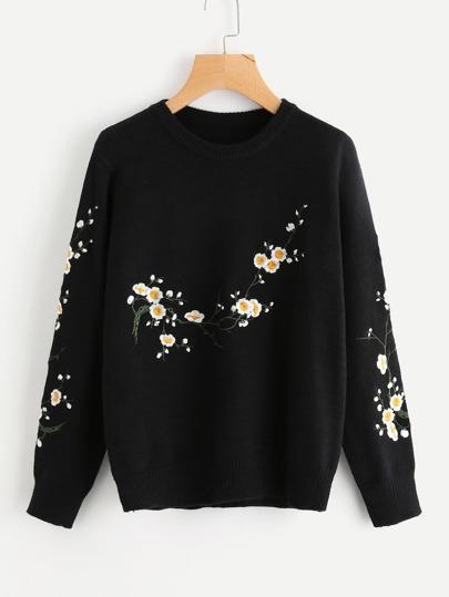 Sweater brodé des fleurs