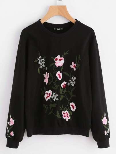Drop Shoulder Flower Blossom Embroidered Pullover