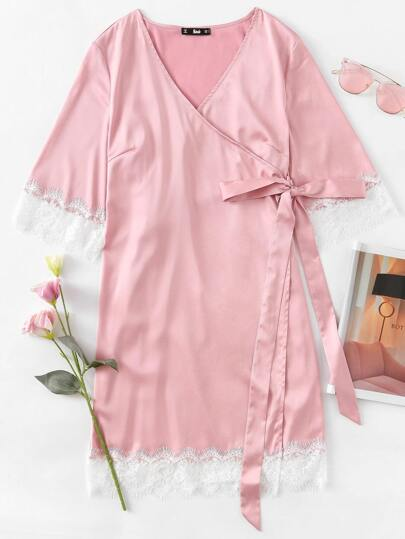 Eyelash Lace Trim Surplice Wrap Nightdress