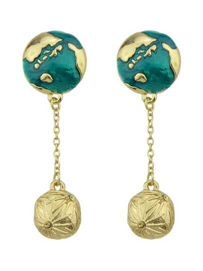 Imitation Globe Gem Pendant Individual Earrings