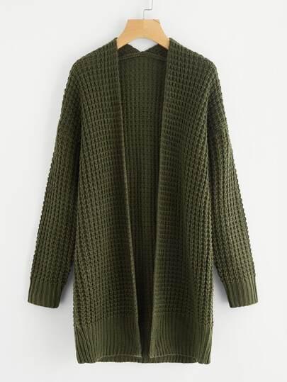 Waffle Knit Longline Sweater Coat