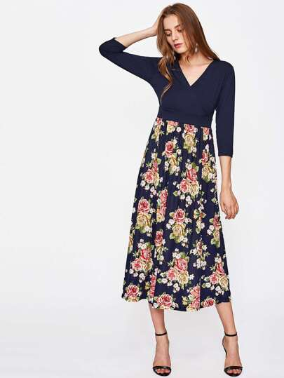 Surplice Neckline Rose Print Combo Dress
