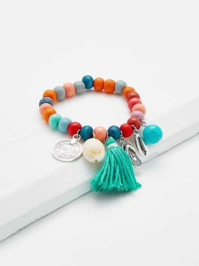 Tassel & Shell Beaded Bracelet