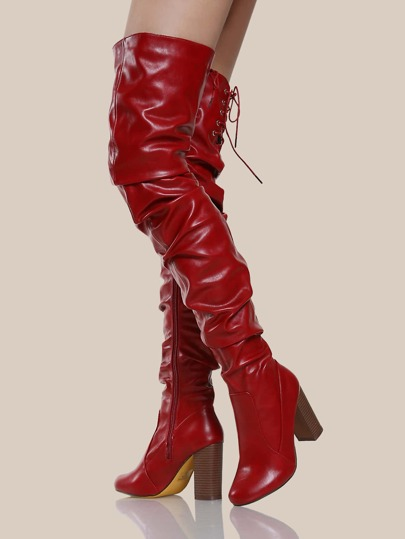 Patent Slouchy Boots RED