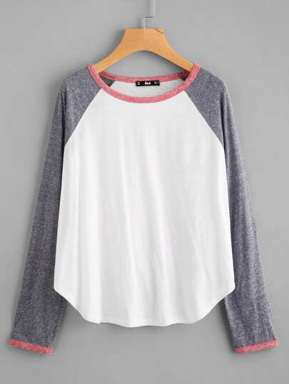 Raglan Sleeve Elbow Patch Curved Hem Tee
