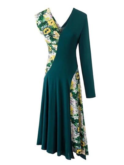 2 In 1 asymmetrisches Kleid mit Calicomuster