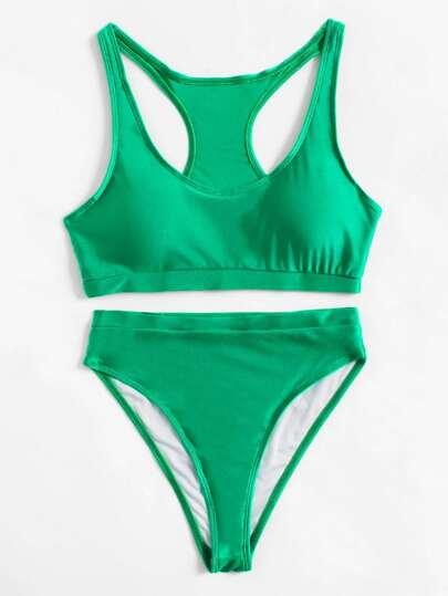Conjunto de biquini con espalda de nadador con pierna alta