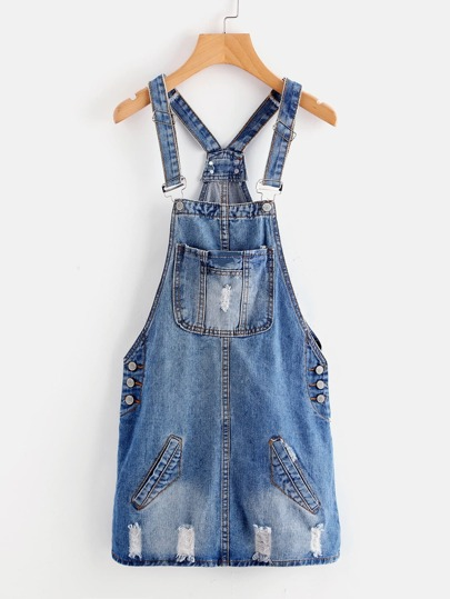 Bleach Wash Ripped Denim Overall Dress