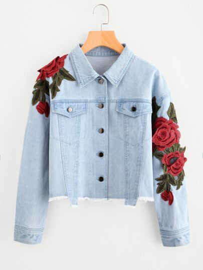 SHEIN                                3D Rose Patch Raw Hem Denim Jacket