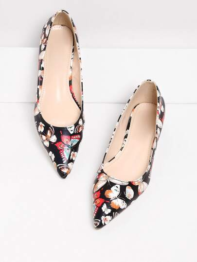 Butterfly Pattern Pointed Toe Flats
