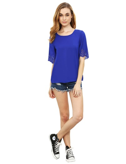 Deep Blue Short Sleeve With Lace T-Shirt