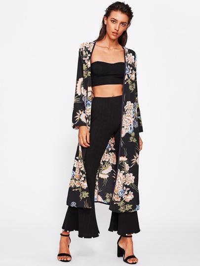Botanical Print Tie Waist Kimono