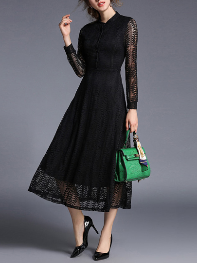 Hollow Out Sheer Lace Shirt Dress