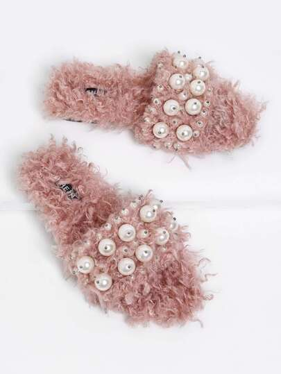 Faux Pearl Embellished Fuzzy Sliders