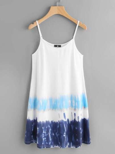 Tie Dye Stripe Print Swing Cami Dress