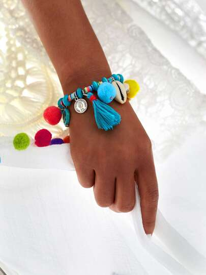Pom Pom & Tassel Decorated Beaded Elastic Bracelet
