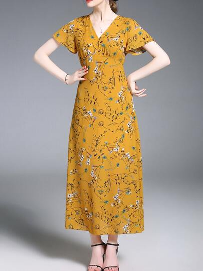 V Neck Floral Maxi Dress