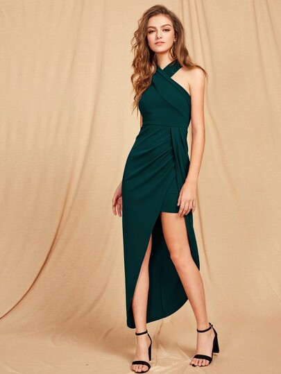 Criss Cross Halterneck Maxi Dress