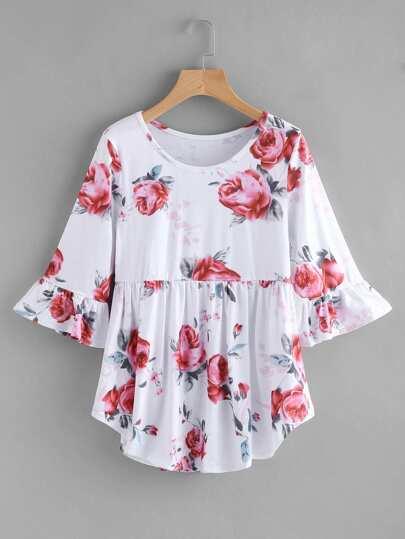 Random Rose Print Frill Tshirt