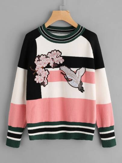 Color Block Embroidered Patch Sweater