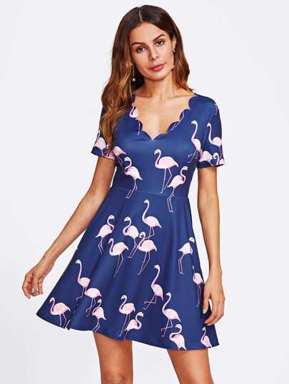 Allover Flamingo Print Scallop Neck Dress