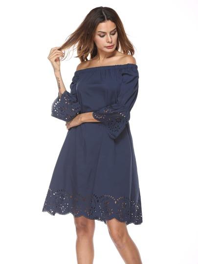 Bardot Scallop Trim Laser Cut Dress