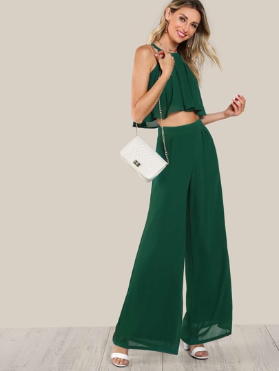 Flowy Crop Top & Matching Pant Set GREEN
