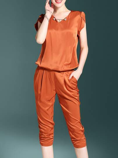V Neck Beading Pockets Jumpsuit