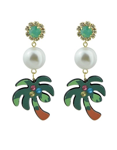 Beach Design Imitation Pearl Tree Shape Big Dangle Earrings