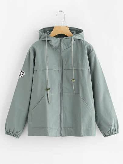Hooded Drawstring Zip Up Jacket