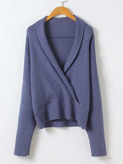 Shawl Collar Drop Shoulder Seam Sweater
