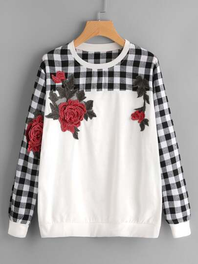 Contrast Check Plaid Embroidered Appliques Sweatshirt